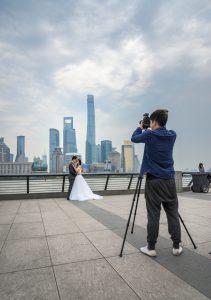 Shanghai's Bund, wedding shoot